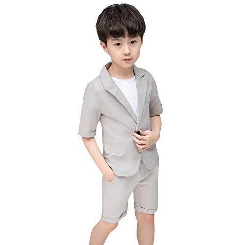 2-delige zomer jongens pak korte mouw Solid Blazer + broek bruiloft partij outfit