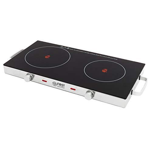 TZS First Austria - Kochplatte Doppel elektrisch mit 20cm und 16,5cm Kochfeld, jedes Kochgeschirr geeignet, 300°C in 30 Sek. | mit Tragegriffe, infrarot Doppelkochplatte | Metallgehäuse, 2800W