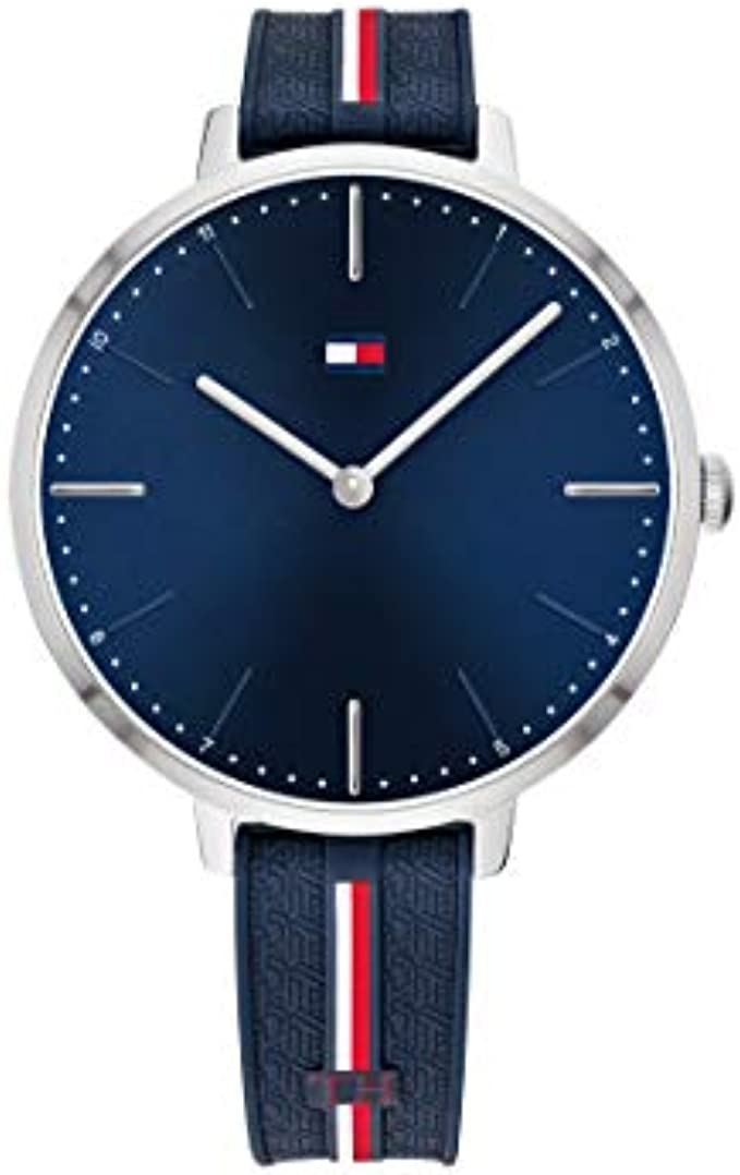 Tommy Hilfiger Women's Stainless Steel Quartz Watch with Silicone Strap, Blue, 13