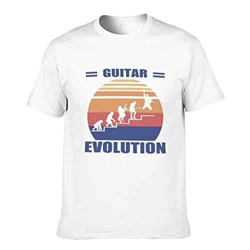BTJC88 Herren T-Shirt Gitarre Evolution Baumwolle - Lustiges Hobby Urlaub Shirt Gr. S, weiß