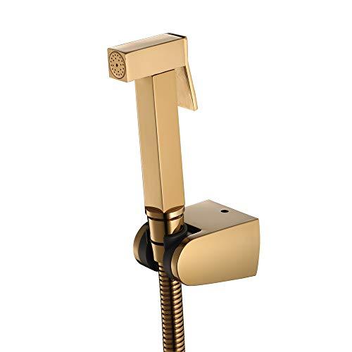 HNBMC Toiletten-Bidet-Sprühgerät, Handbrause, Duschspray-Shattaf-Sprühgerät, mit Duschschlauch-Duschwanne aus Edelstahl, Messing,Gold