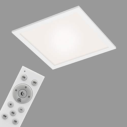 Briloner Leuchten - Panel LED, lámpara de techo WiFi regulable, RGB, control por aplicación, incluye mando a distancia, función de temporizador, 18 W, 1700 lúmenes, color blanco, 295x295x61mm.