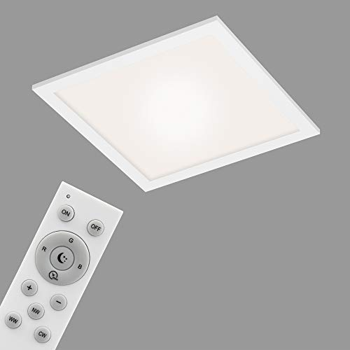 Briloner Leuchten - Panel LED, lámpara de techo WiFi regulable, RGB, control por aplicación, incluye mando a distancia, función de temporizador, 18 W, 1700 lúmenes, color blanco, 295x295x61mm.