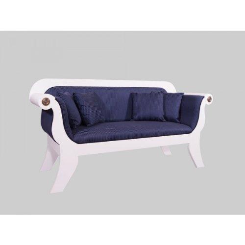 Biedermeier Sofa 3-Sitzer weiß / blau