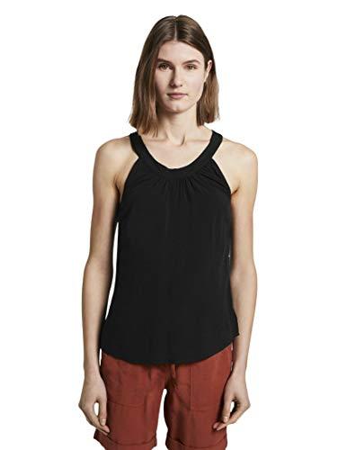 TOM TAILOR Damen Blusen, Shirts & Hemden Bluse mit Neckholder-Kragen Deep Black,42,14482,2999