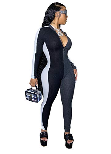 ECHOINE Women's Sexy One Piece Outfits - Jumpsuit Long Pants Bodycon Outfit Rompers Clubwear Grey-White