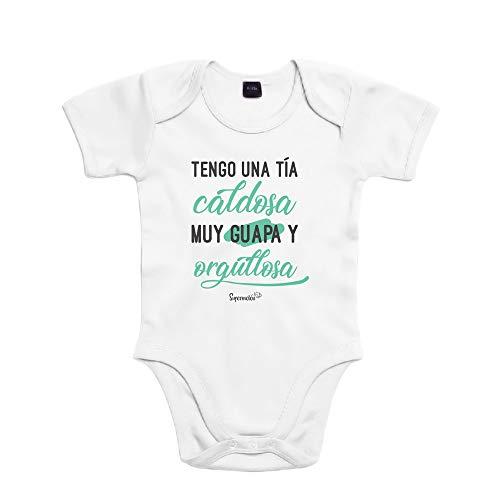 SUPERMOLON Body bebé algodón Tengo una tía caldosa 6 meses Blanco Manga corta