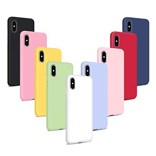 9X Cover per iPhone XS Max, Custodie Morbido Silicone Case Tinta Unita Ultra Sottile TPU Flessibile Gomma Protezione Posteriore Antiscivolo Protettiva Skin Caso - 9 Colori