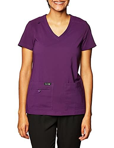Blusa de uniforme médico feminina KOI Basics ultra confortável e leve da Becca, Eggplant, Large