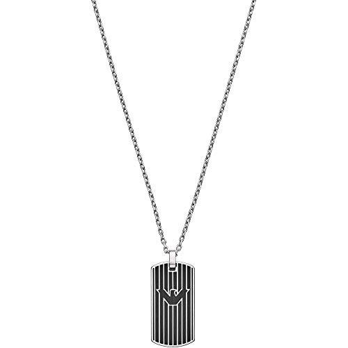 Emporio Armani Herren Halskette Dog-Tag-Anhänger Edelstahl schwarz, EGS2724040