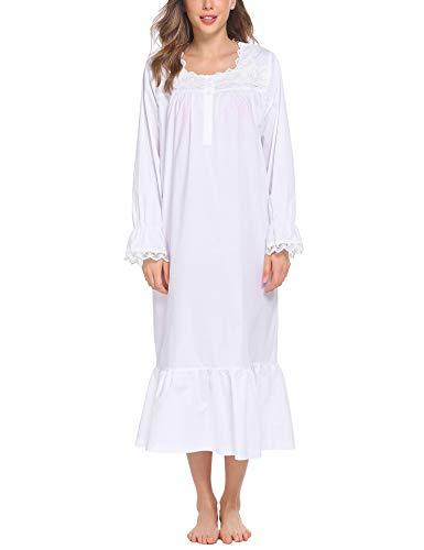 ADOME Damen Nachthemd Langarm Schlafkleid Einteiliger Schlafanzug Vintage Nightdress Sleepwear Pyjama Schwangere & Mutter Nachtwäsche, Weiß, L