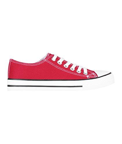 KRISP 2345-RED-7: Damen Flache Sneaker Turnschuhe Stoffschuhe mit Dicker Sohle (Rot, Gr.40)