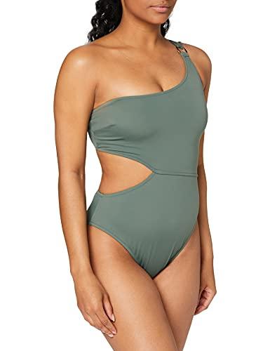 Marchio Amazon - Iris & Lilly Costume da Bagno con Cut out Donna, Verde (Khaki), XXL, Label: XXL