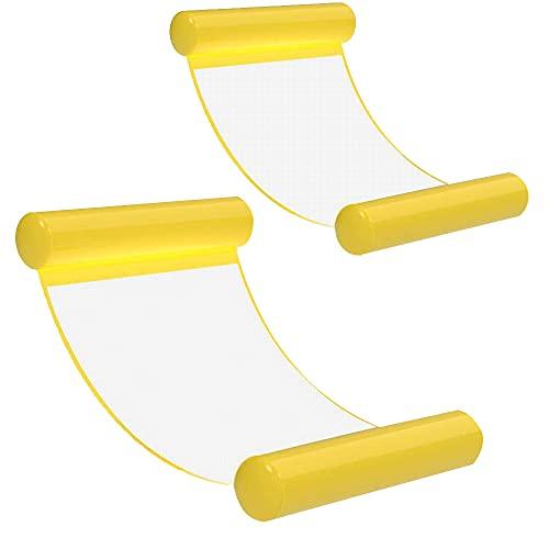 [2Stück]Wasserhängematte Luftmatratze aufblasbare Schwimmende Wasser Bett Strandmatte Floating Lounge Stuhl (Yellow*2)