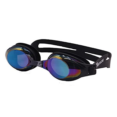 YNLRY Gafas De Natación Adolescentes Protección Impermeable Anti-Niebla Correa Ajustable Comfort Fit para Hombres Y Mujeres Adultos Unisex (Color : Black Colorful)