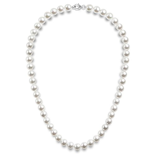 PAVOI Sterling Silver Round White Simulated Shell Pearl Necklace Strand | Pearl Choker Necklace | Jewelry for Women - 22' Length (8mm)
