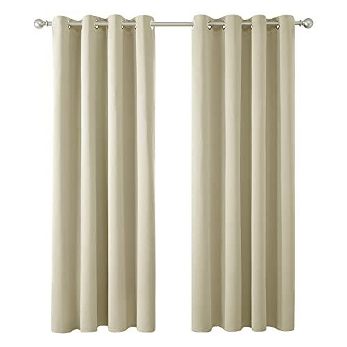Amazon Brand – Umi Cortinas Opacas Telas Termicas Aislantes Frio Calor Ruido Luz Rayos UV para Salon Dormitorio Conjunto de 2 Paneles 117 x 183 cm Beige