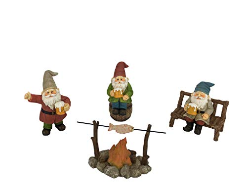 Gnomos Felices Cerveceros – Set de 5 piezas de Gnomos de Jardín para Jardines de Hadas en Miniatura