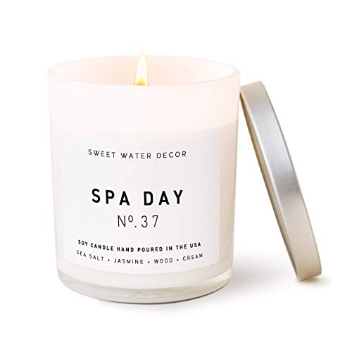 Sweet Water Decor Spa Day Candle | Sea Salt, Jasmine, and Wood Relaxing Scented Soy Wax Candle for Home | 11oz White Glass Jar, 50 Hour Burn Time, Made in the USA