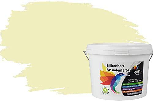 RyFo Colors Silikonharz Fassadenfarbe Lotuseffekt Trend Leichtgelb 3l - bunte Fassadenfarbe, weitere Gelb Farbtöne und Größen erhältlich, Deckkraft Klasse 1