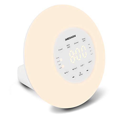MEDION P66080 Wake-up Light Lichtwecker mit Wohlfühlatmosphäre, PLL UKW Radio, Natürliches Erwachen, Simuliert Sonnenaufgang, Ansteigender Alarmtom, weiß