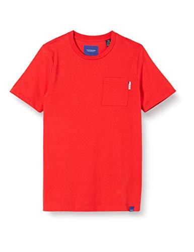 Scotch & Soda Jungen Brusttasche T-Shirt, Rot (Red Clash 3270), 152 (Herstellergröße: 12)