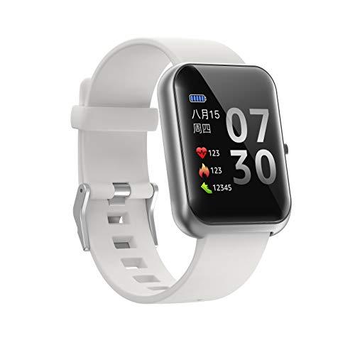 Amaxos Ax20 - Reloj inteligente para hombre y mujer, monitor de actividad para iOS y Android, Bluetooth, monitor de frecuencia cardíaca, presión arterial, color gris y plateado