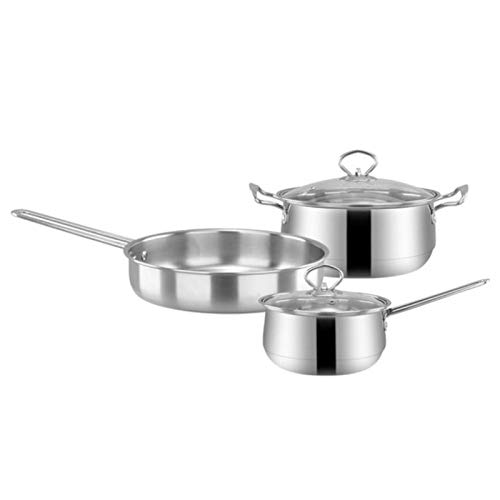 GYZCZX 3 unids/Set Utensilios de Cocina de Acero Inoxidable Conjunto Plana freying sartén Sopa Olla Leche Leche Kit de inducción Cocina de Cocina para el hogar
