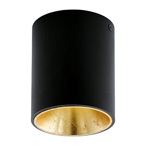 EGLO LED Deckenleuchte Polasso, 1 flammige Deckenlampe, Material: Aluminium, Kunststoff, Farbe: Schwarz, gold, Ø: 10 cm