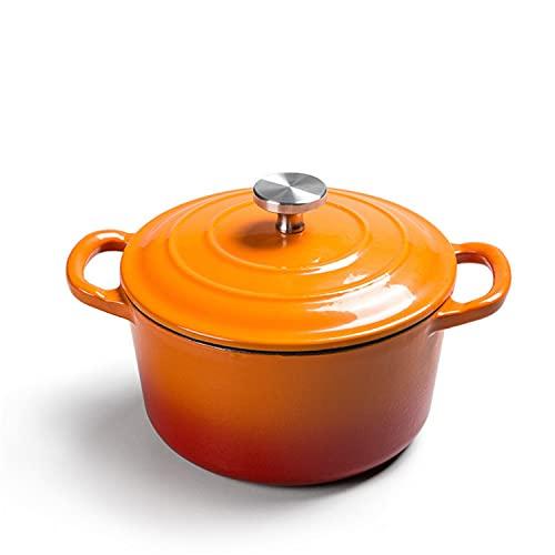 Wok Fuente en Hierro Fundido esmaltado con Cacerola Antiadherente de Tapa, 1.2 L, para cocinar al Vapor Cocinero (Color : Orange)