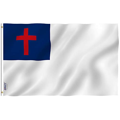 Anley Fly Breeze 3x5 Foot Christian Flag - Vivid Color and Fade Proof - Canvas Header and Double Stitched - Religious Flags Polyester with Brass Grommets 3 X 5 Ft