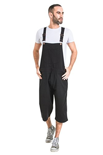 USKEES Mens Loose Fit Bib Overall Shorts - Black Dungaree Shorts
