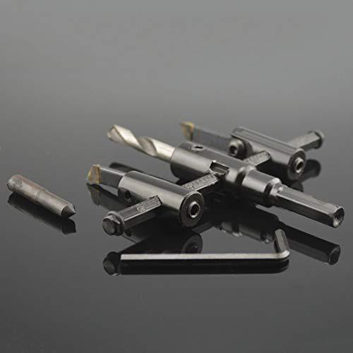 Kit de cortador de brocas de sierra circular de madera de acero de aleación de metal ajustable 30mm-120mm escariador de dispositivo de escariado de bricolaje - negro