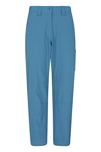 Mountain Warehouse Hiker Stretch Womens Trousers - UV Protection Ladies Pants, Quick Drying Bottoms, Multiple Pockets - Best for Outdoors, Picnic, Parks Blau 38