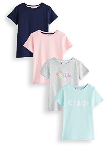 RED WAGON Amazon-Marke: RED WAGON Mädchen Slogan T-Shirt, Mehrfarbig (Multicolour), 104, 4er-Pack