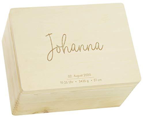 LAUBLUST Erinnerungsbox Baby Personalisiert - Geschenk zur Geburt | 40x30x24cm, Holzkiste Natur FSC® | Serie: Niers