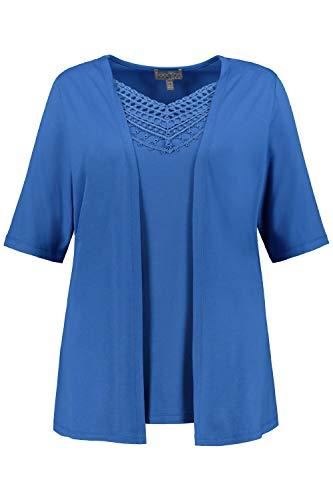 Ulla Popken Damen große Größen 2-in-1-Shirt, Ausschnitt mit Spitze, Halbarm, Selection Mittelblau 54/56 747598 76-54+