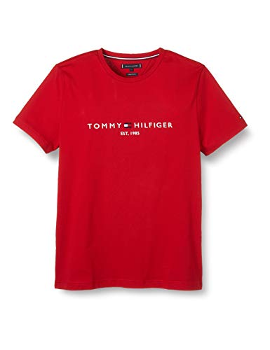 Tommy Hilfiger Herren Tommy Logo Tee T-Shirt, Primary Red, L