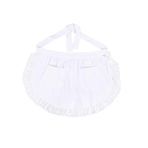 BESTonZON Taille Schürze aus Baumwolle Spitze Kurze Schürze mit Taschen für Magd Kellnerin Servant (weiß)