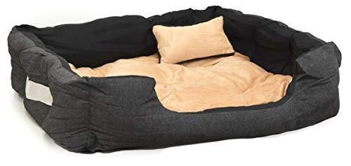 EYEPOWER Hundebett 82x70x20 cm Hundekissen Waschbar Tierkissen Tierbett Katzenbett Katzenkissen Innenkissen Beige-Schwarz