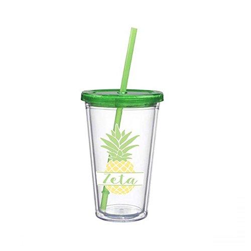 Zeta Tau Alpha Sorority Nickname Pineapple Sticker on Plastic Tumbler Greek Decal 16 oz. BPA Free zeta
