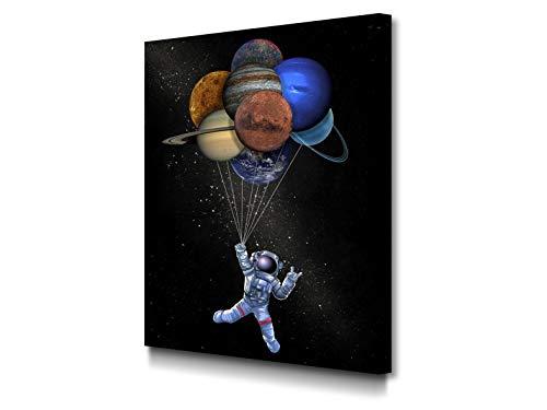 Foto Canvas Cuadro Un Viaje por La Galaxia Decoración Pared | Lienzos De Arte Moderno del Espacio para El Hogar | 45 x 60 cm con Bastidor Grueso 3.6 cm