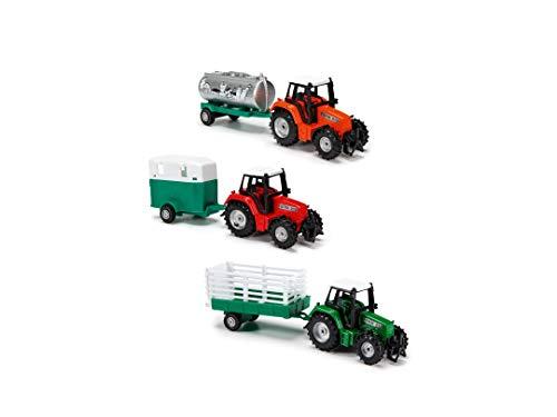Dickie Toys 203733001 Farm Life Team, Traktor mit Anhänger, Bauernhof Spielzeug, Spieltraktor, Gespann wahlweise mit Tank, Pferde-oder Heuanhänger, 3 Verschiedene Ausführungen, 18 cm, ab 3 Jahren