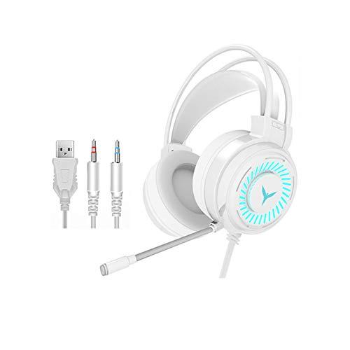 XYY Auriculares Estéreo del Juego De Jugador Auriculares De Sonido Envolvente con Cable Auriculares Micrófono USB Colorido Luz PC Portátil del Juego De Auriculares,Blanco