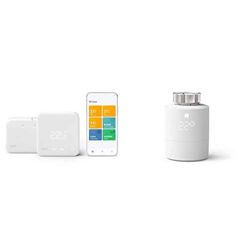 tado° Termostato Inteligente Inalámbrico Kit de Inicio V3+ - Control inteligente de calefacción + Cabezal Termostático Inteligente, Accesorio para control de habitaciones múltiples, Instálalo tú mismo