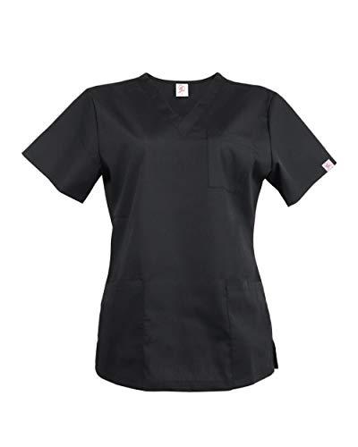 JONATHAN UNIFORM Donna Camice da Lavoro, Uniforme da Lavoro Blusa Femminile per Estetiste Cuoche (Nero, L)