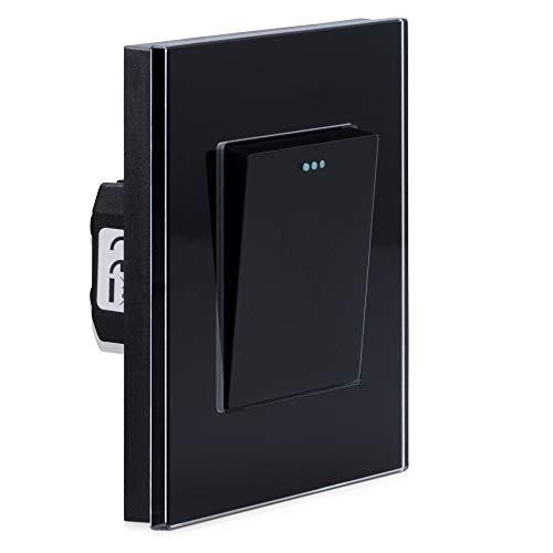 Navaris Interruptor de pared de cristal - Switch con pulsador para luz - Placa individual de vidrio de 8.5 x 8.5 x 4 CM empotrable en pared - Negro
