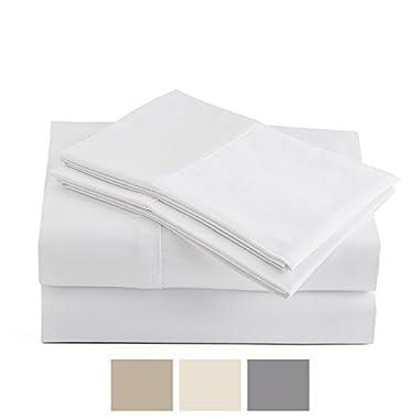 Peru Pima - Temperature Regulating Sheets - 600 Thread Count - 100% Peruvian Pima Cotton - Sateen - Bed Sheet Set - Queen, White