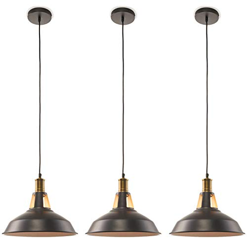 Large 12 inch Pendant Light Industrial 3 Pack - Hanging Over Island Ceiling Kitchen Lighting Pendants Black and Gold - Modern Farmhouse Style Fixture - Bronze Style Lamp - E26 Bulb