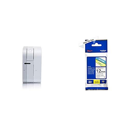 Brother P-touch Cube Bluetooth-Beschriftungsgerät (für 3,5 bis 12 mm breite TZe-Schriftbänder, bis zu 20 mm/Sekunde Druckgeschwindigkeit) + TZe-231 P-touch Schriftband (12mm breit) schwarz auf weiß
